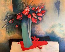 """Floral-Still Life-""""Roses et Cerises""""-Claude Gaveau-Ltd./Ed.-Signed-Lithograph"""