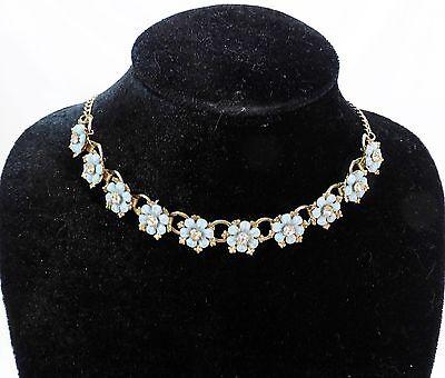Vintage floral necklace rhinestones plastic choker light blue
