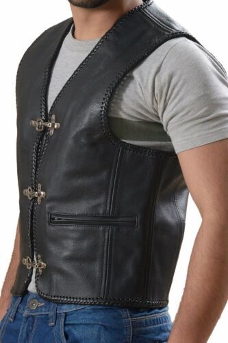 Leather Vest Waistcoat Motorbike Men/'s Motorcycle Biker Fish Hook Buckles