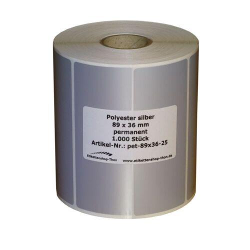 Hülse 25 mm 1000 Stück Polyester Etiketten silber 89 x 36 mm Typenschilder