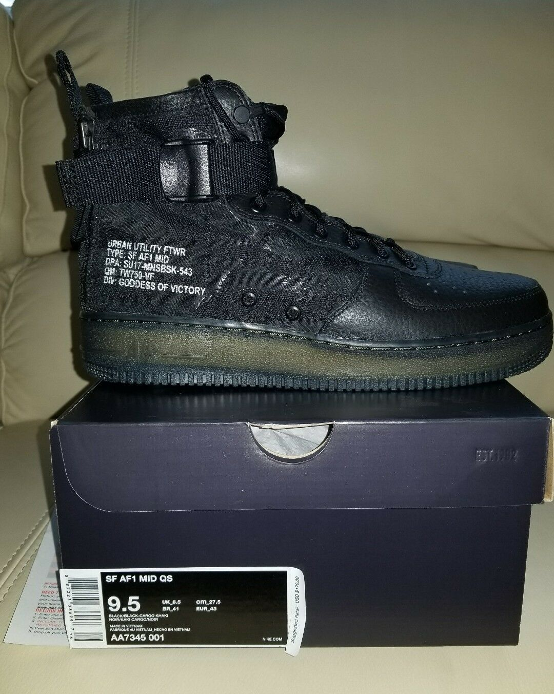 Nike Air Force 1 SF AF-1 Mid QS Black/Camo Boots/Sneakers 9.5