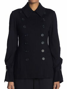 Bailey 44 NWT Womens Medium Tie Cuff Ponte Peacoat Black Double Breasted Womens