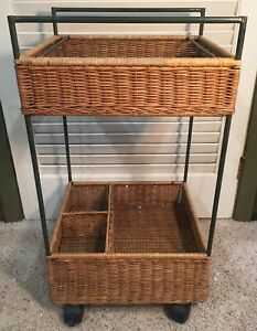 Wicker-and-Metal-Two-Tier-Cart-on-Wheels-Tray-Holder-Storage
