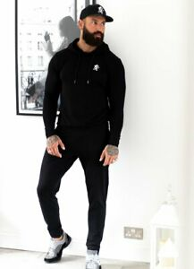 Gym-King-Mens-Lightweight-Basis-Lounge-Tracksuit-Overhead-Hoodie-Joggers-Black