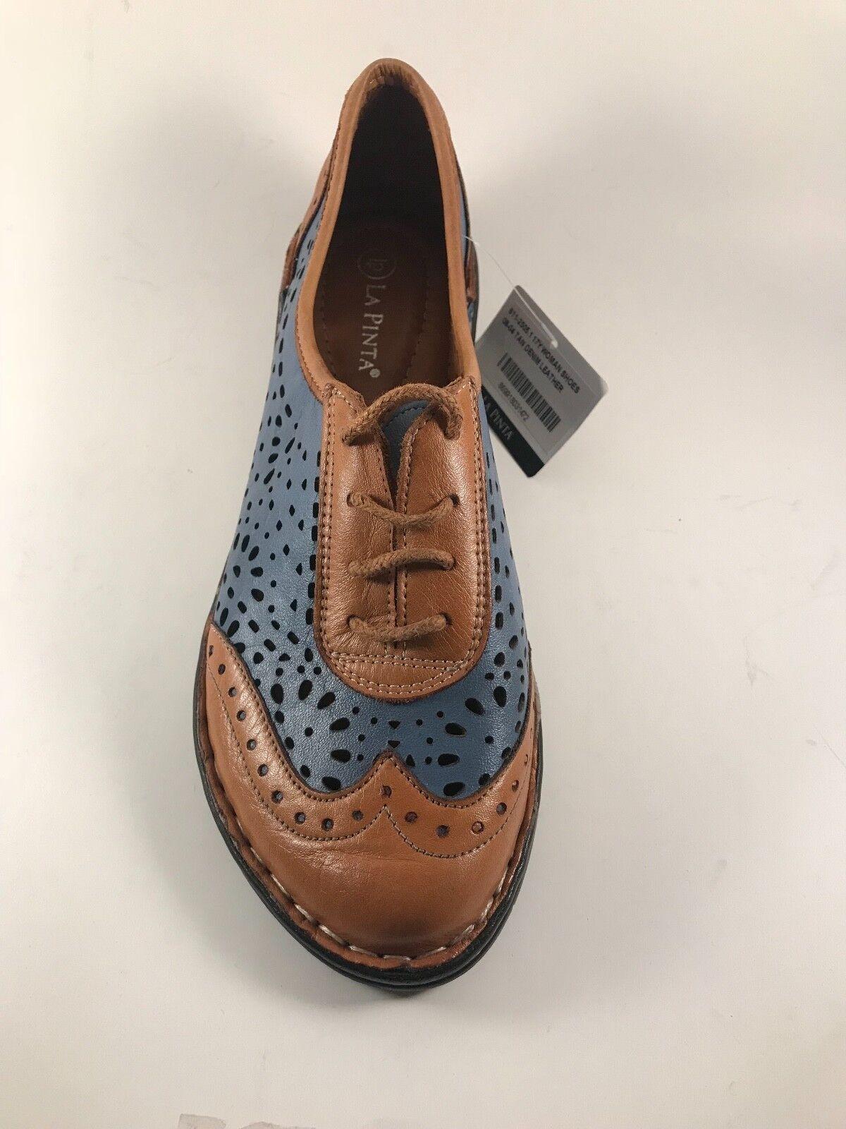 La Pinta 611-2505 Tan Tan Tan Denim Leather Lace Up Lightweight shoes Size 37(US 6.5-7) 82ddb5
