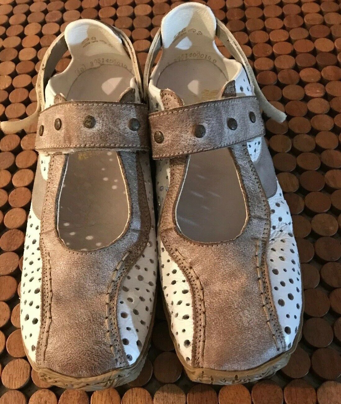 RIEKER Women's AntiStress Perforated Leather Mary Jane Size 40, US 9 9.5