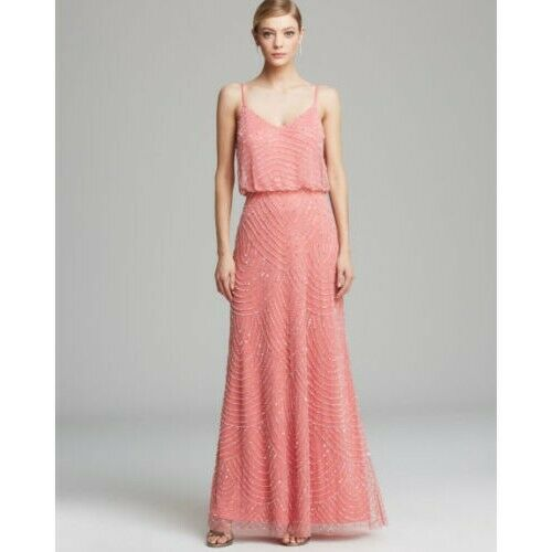 ADRIANNA PAPELL BEADED SEQUIN GOWN PINK SIZE 10 NWT