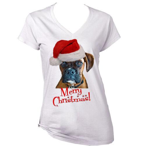 Buon Natale Boxer Dog-NUOVO BIANCO COTONE T-shirt Lady