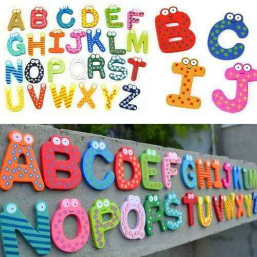 Wood Cute Fridge Magnet Alphabet Letter Number Early Educational Kids Baby Toy,
