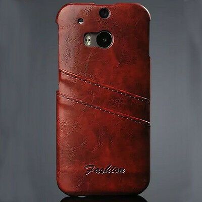 Luxury Card Slot Genuine Leather Back Case Cover For 2014 HTC ONE M8 Cuddly