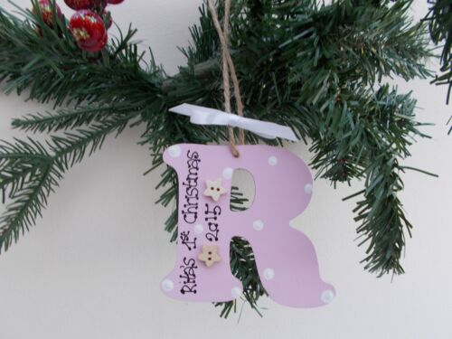 Personalised Wooden Initial Baby/'s First Christmas Tree Decoration Gift