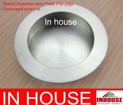 65mm Round Stainless steel Flush pull-Satin