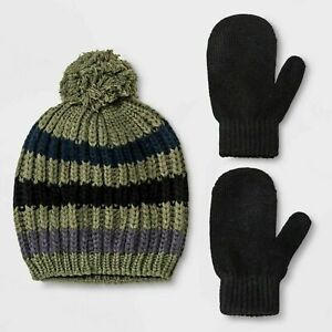Toddler-Boys-039-Striped-Knit-Pom-Beanie-and-Mittens-Cat-amp-Jack-2T-5T-24
