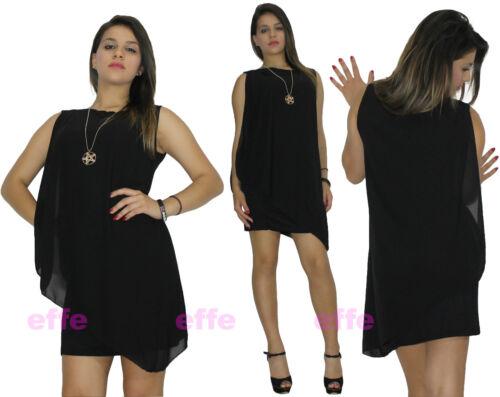 Vestito donna miniabito corto velato abito velo chiffon elastico nuovo a658