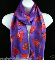 Red Hat Womens Society Scarf Hats Purse Striped Scarfs Gift Purple Scarves