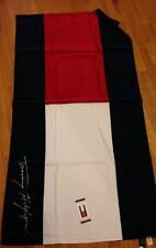 """Tommy Hilfiger Logo Beach Towel, Blue and Red, Logo Design, Cotton, 35"""" x 66"""""""