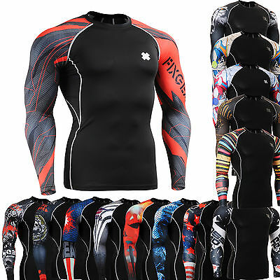 FIXGEAR mens compression skin tight shirts  baselayer running gear Top S~4XL