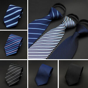 Men-Classic-8cm-Wide-Striped-Zipper-Pre-tied-Neckties-Wedding-Party-Tie
