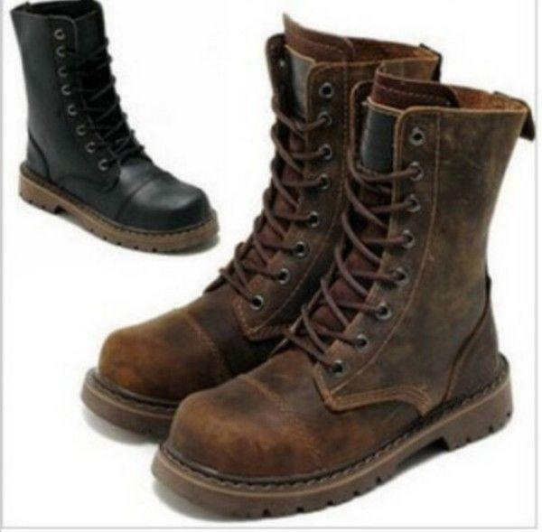 Vintage Womens Mens Leather Lace Up Motorcycle Military Ankle Boots shoes Size