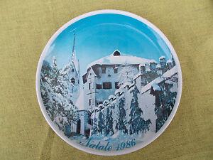 Piatto-ceramica-F-lli-COMUNELLO-Commemorativo-Natale-1986-LA-RIVETTA-Primiero-TN