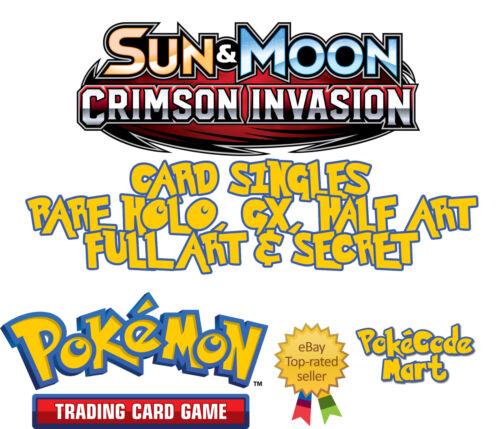 Ultra Rare Cards Singles GX Pokemon TCG Sun /& Moon Crimson Invasion Rare Holo