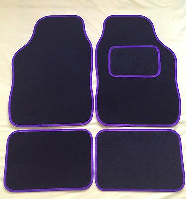 BLACK WITH PINK TRIM FOR FORD FIESTA 4PCE UNIVERSAL CAR FLOOR MATS