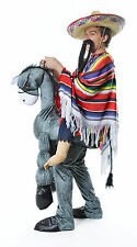 HEY AMIGO MEXICAN ON DONKEY STEP IN COSTUME PONCHO MUSTACHE SOUTH AMERICAN