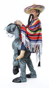 HEY-AMIGO-messicano-Asino-PASSO-COSTUME-PONCHO-BAFFI-South-American
