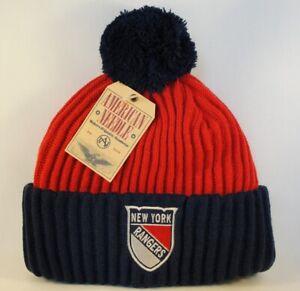 New-York-Rangers-NHL-Cuffed-Knit-Pom-Hat-American-Needle-Red-Navy