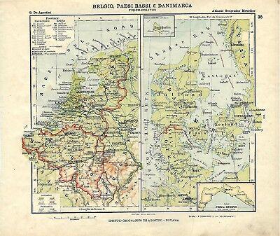 Olanda Cartina Fisica E Politica.Carta Geografica Antica Belgio Olanda Danim Ante Grande Guerra 1914 Antique Map Ebay