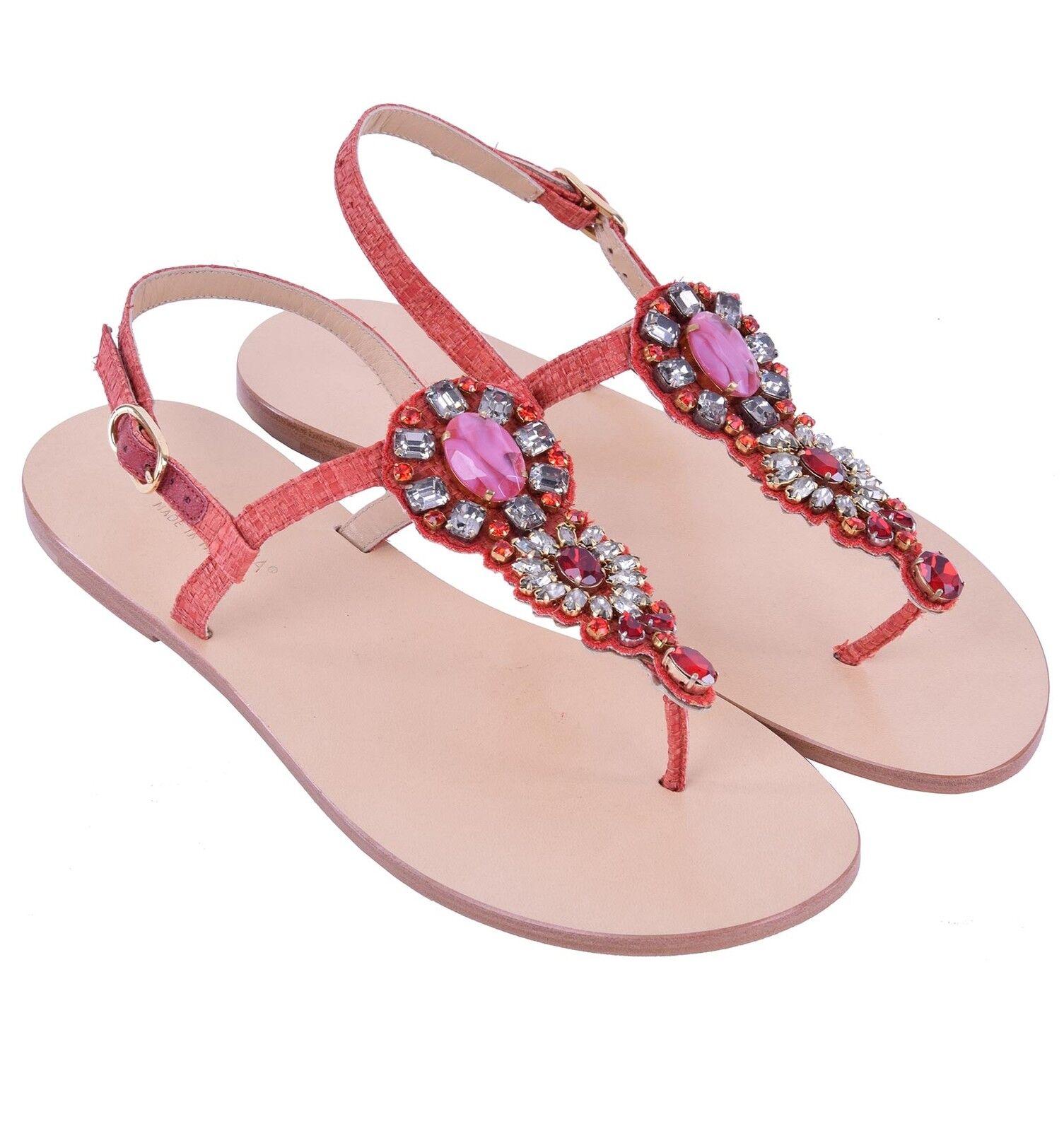 DOLCE & GABBANA Flache Sandalen mit Kristall Schmuck Rot Schuhe 04319