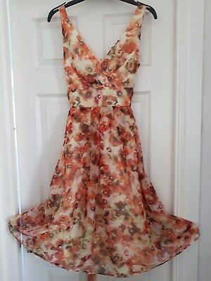 BHS SOPHIE GRAY IVORY//PINK MIX 50s VINTAGE STYLE PROM OCCASION DRESS 10-20 NEW