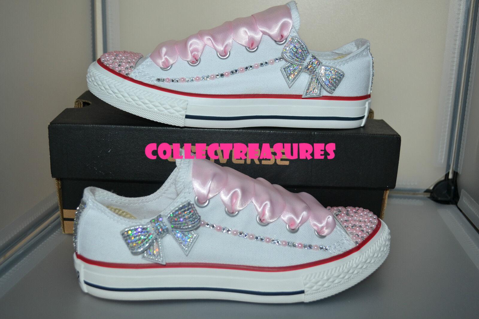 Custom Crystal Diamante Bling UK Wedding Weiß Converse Größe UK Bling 3 4 5 6 7 8 9 Pink 99ad9e