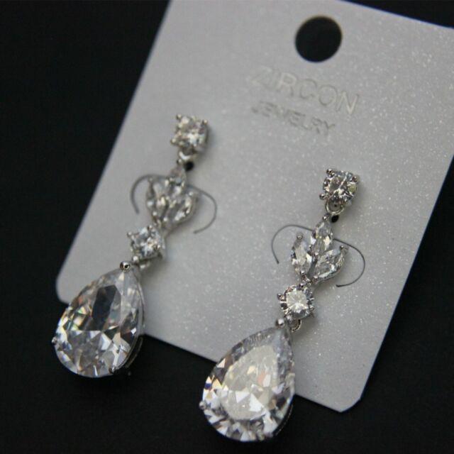 Vintage Cluster Crystal Hoop Earrings 18K Gold Platinum Filled Topaz Eardrop NEW