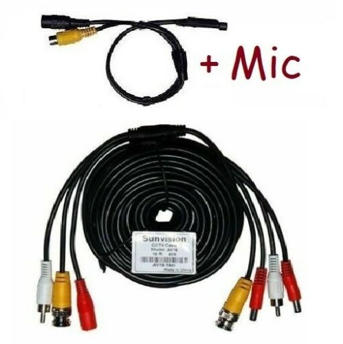 Sunvision CCTV 50ft 3-in-1 surveillance camera cable Mic Power+Audio+Video