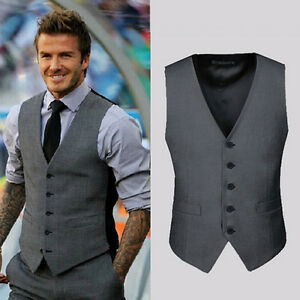 Fashion Men Casual Suit Vest Slim Dress Formal Waistcoat Business ...