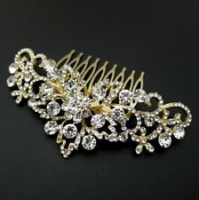 "Gold Filigree 3-7/8"" Rhinestone Crystal Wedding Bridal Headpiece Updo Hair Comb"
