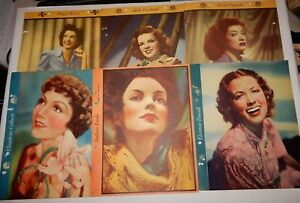 Lot-Of-6-Vintage-Dixie-Premium-Star-In-Action-Sheets-Judy-Garland-Peggy-Ryan