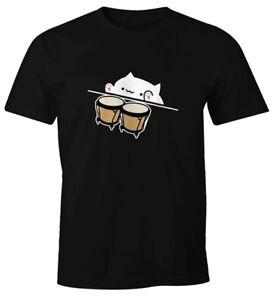 Analytique Bongo Cat T-shirt Hommes Dégénèrent Fun-shirt Moonworks ®-afficher Le Titre D'origine Les Couleurs Sont Frappantes