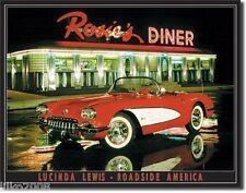 ROSIE'S DINER/ CHEVROLET CORVETTE (LUCINDA LEWIS), METAL WALL SIGN 40X30cm, USA