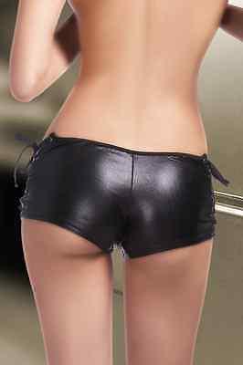 Sexy HOT PANTS Panty Hotpants Lack Leder Optik Schnürung schwarz 34 36 38 S M