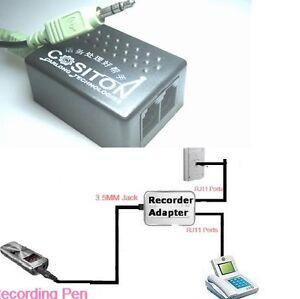 RJ11-Fixed-line-Phone-Telephone-3-5MM-Laptop-PEN-Call-Recorder-Adapter-Converter