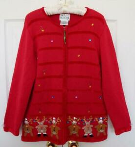 Details about Quacker Factory Christmas Reindeer Cardigan Sweater M Red  Embellished Ugly