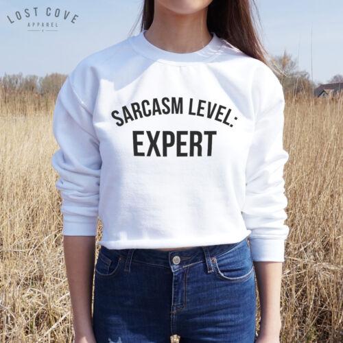 Sarcasm Level Expert Crop Sweater Jumper Top Sweatshirt Fashion Slogan Tumblr