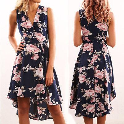 Women Summer Off Shoulder Floral Short Mini Dress Ladies Beach Party Dresses L