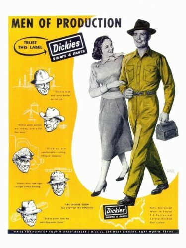 Men of Production Vintage Dickies clothing advert Poster reproduction.