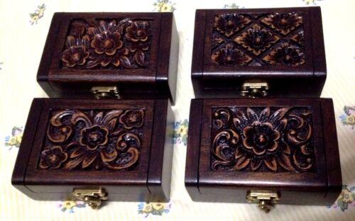 Jewelry Wood Box Name Card Earrings Trinket Rings Necklace Storage Thai Handmade