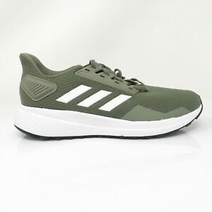 Adidas-Mens-Duramo-9-EG2531-Green-White-Running-Shoes-Lace-Up-Low-Top-Size-5