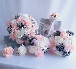 Wedding Flowers Pink Silver And White Rose Bride Bouquet Bridesmaid