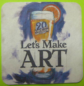 BLUE-MOON-LET-039-S-MAKE-ART-20-YEARS-Beer-COASTER-Mat-Golden-COLORADO-2015-issue